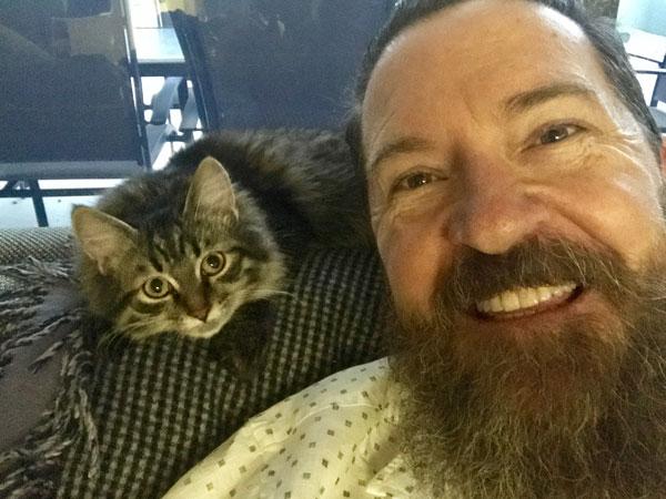 Siberian kitten Suki with Scott, May 2017